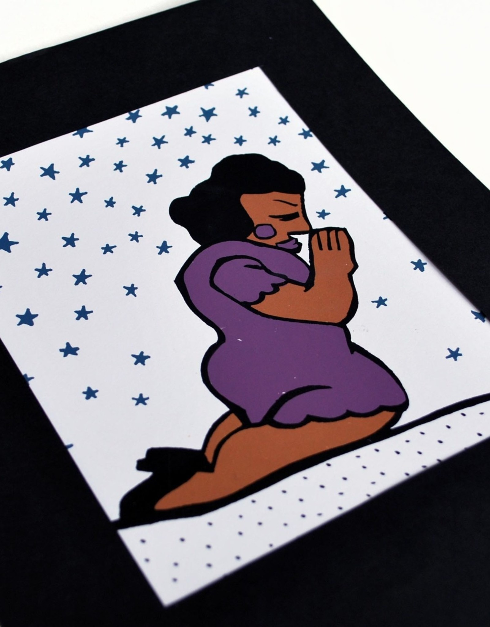 Julia Arredondo Praying Woman Purple, Matted Screenprint by Julia Arredondo/Curandera Press