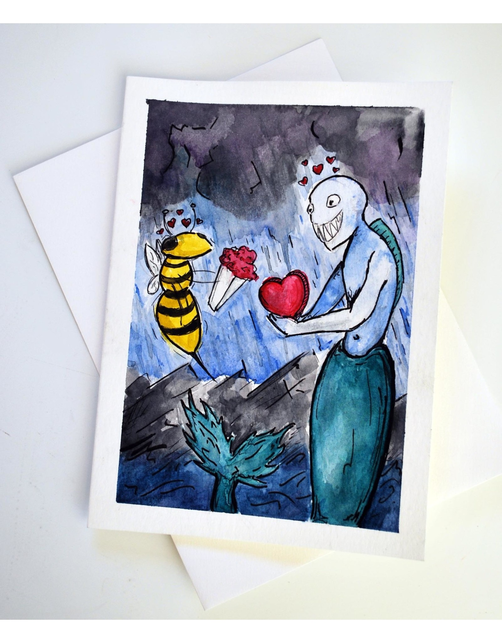 Wasp 4 Siren Watercolor Card by Anastasia Murphy