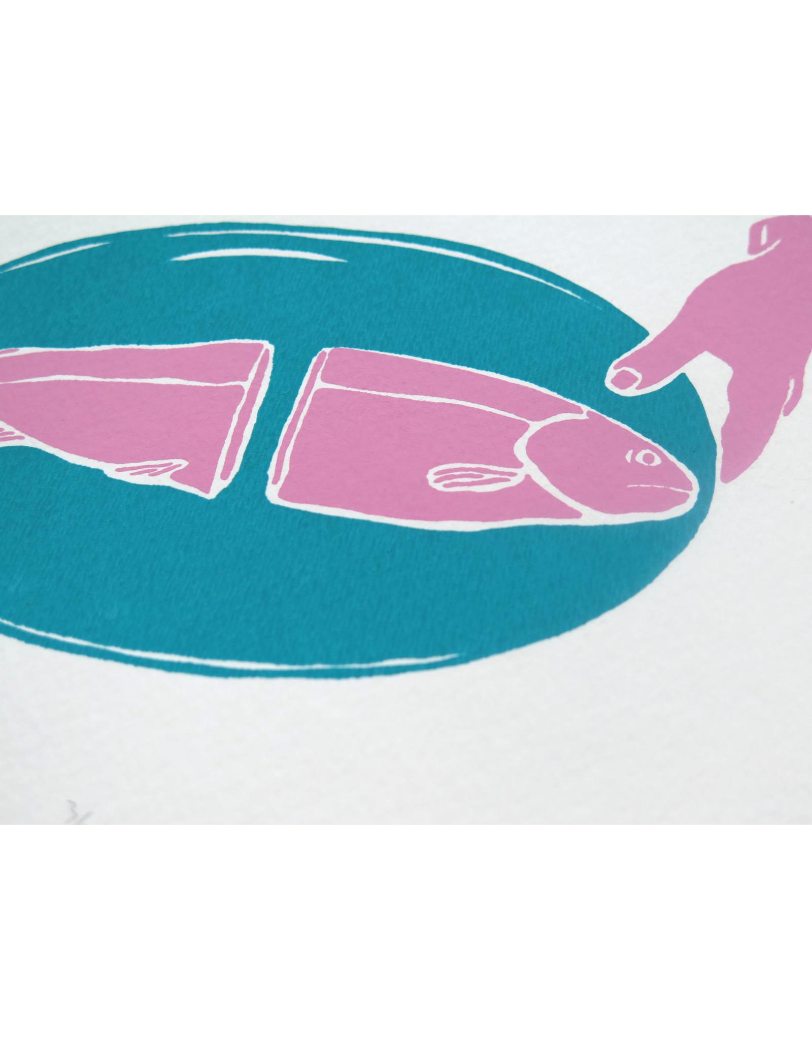 Pink Fish Screen Print by Kengi Yang