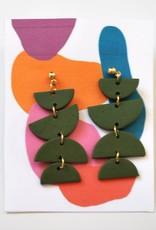 Forest Green Clay Earrings by Clare Cinelli