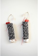 Silk Earrings with pearls and coral , Jason Hall