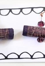 Purple fabric jeweled earrings, Jason Hall