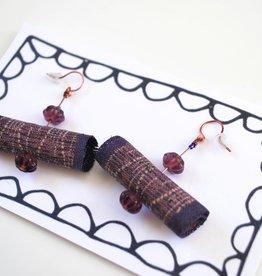 Purple Fabric Jeweled Earrings by Jason Hall