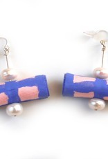 Hand painted silk earrings and pearls, Jason Hall