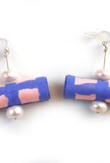 Hand Painted Silk Pearl Earrings by Jason Hall