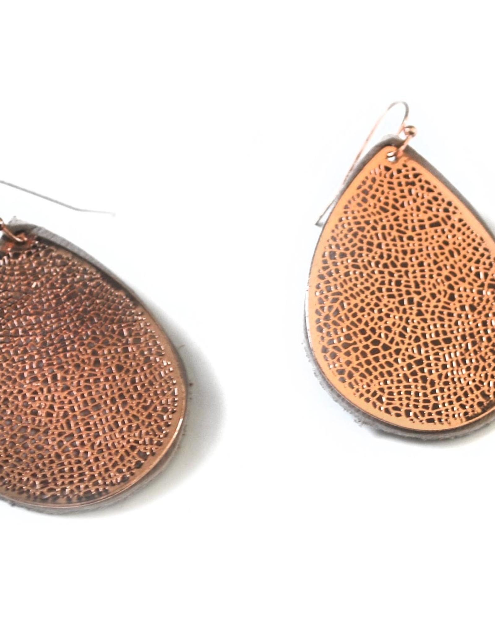 Leather teardrop earrings, Eva Airam Studio