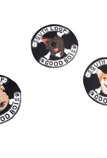 """Good Bois"" dog gang stickers by Michael Ulm"