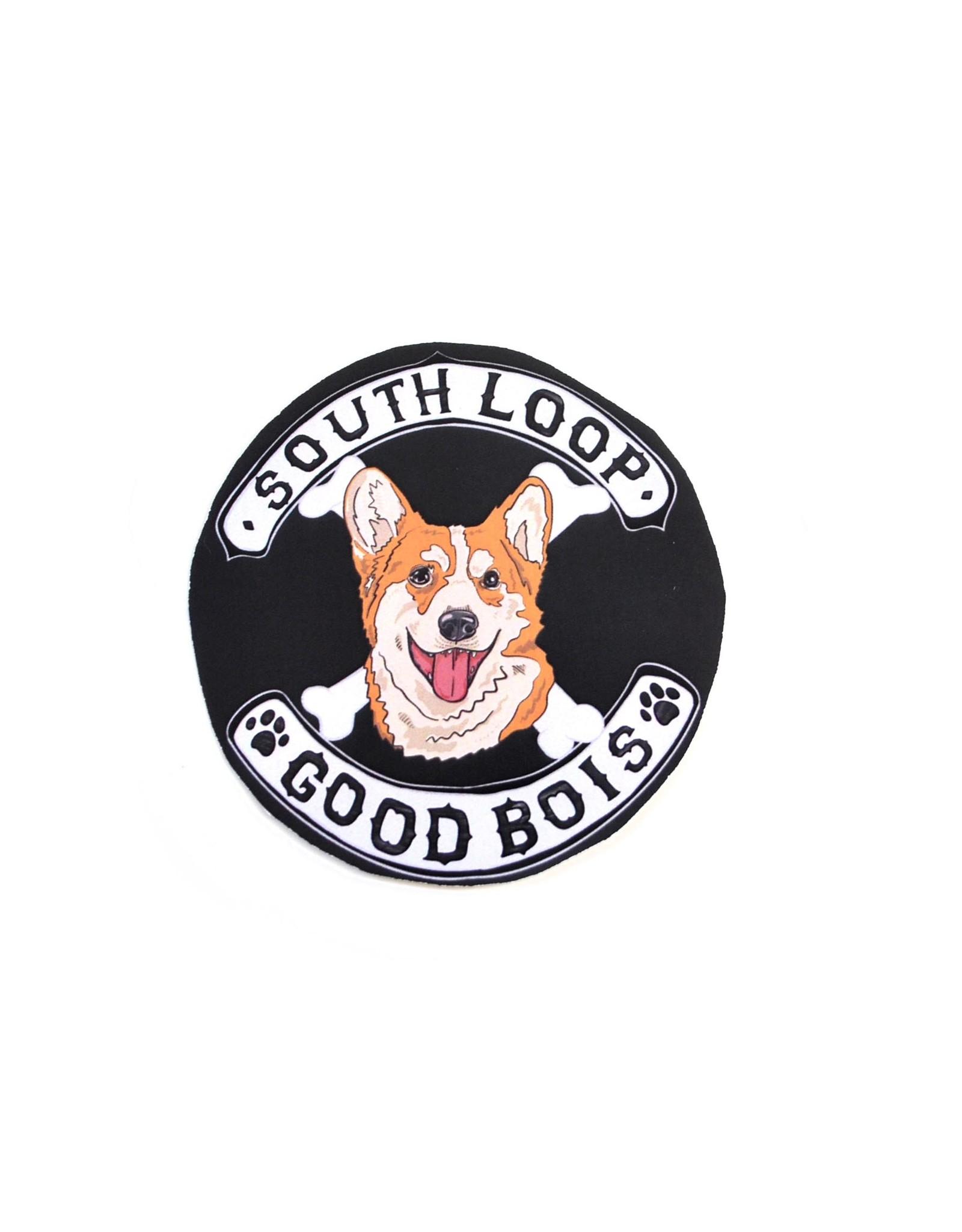 """Good Bois"" dog gang stickers by Michael Ulm"