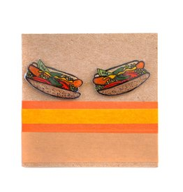 Chicago Hotdog Earrings by all the kitties love me