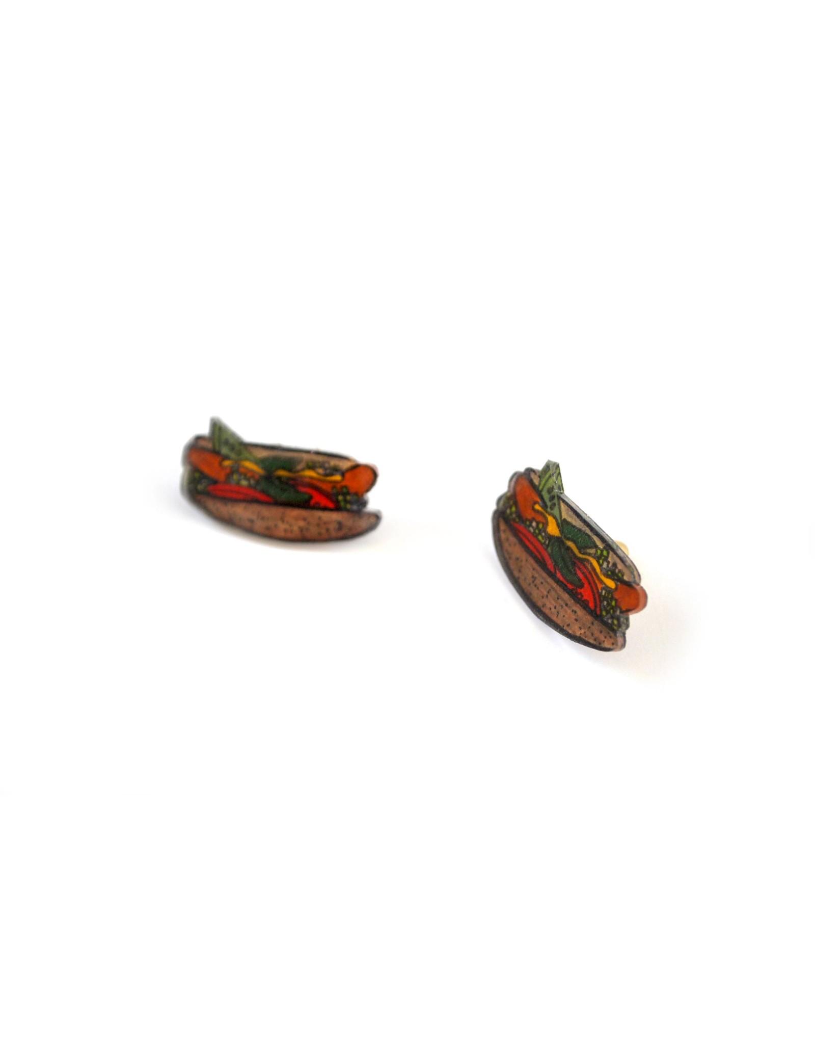 Chicago Hotdog Earrings by all the kitties love me