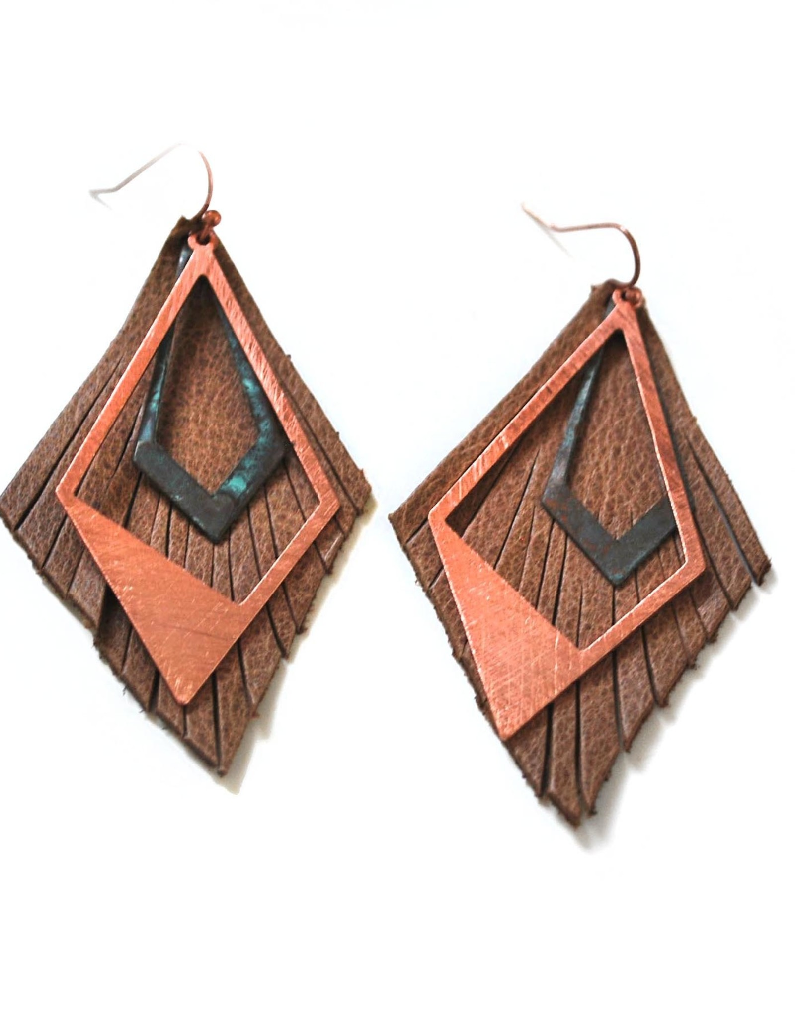 Geometric Upcycled Leather Earrings by Eva Airam Studio