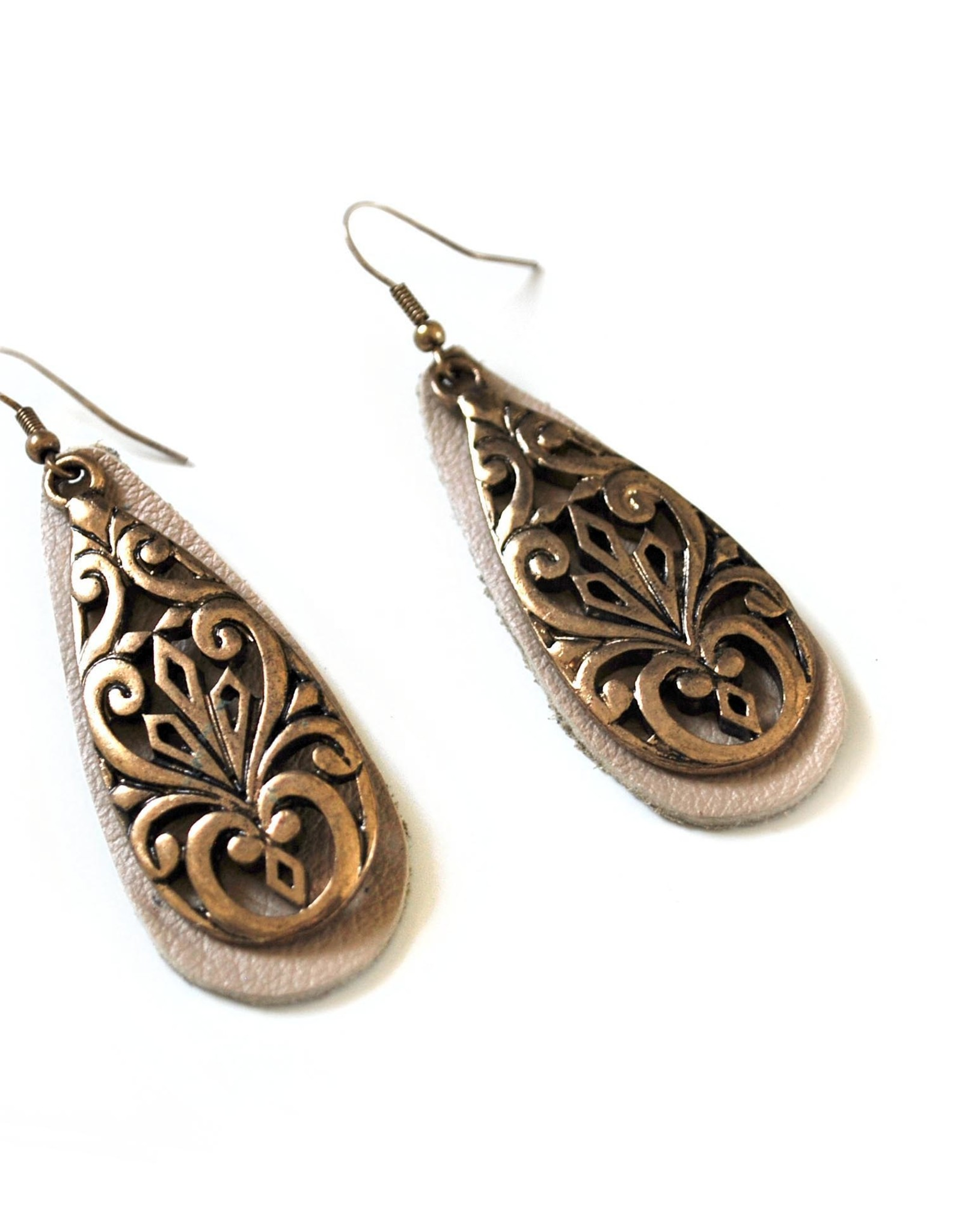 Upcycled Leather Earrings with metal by Eva Airam Studio