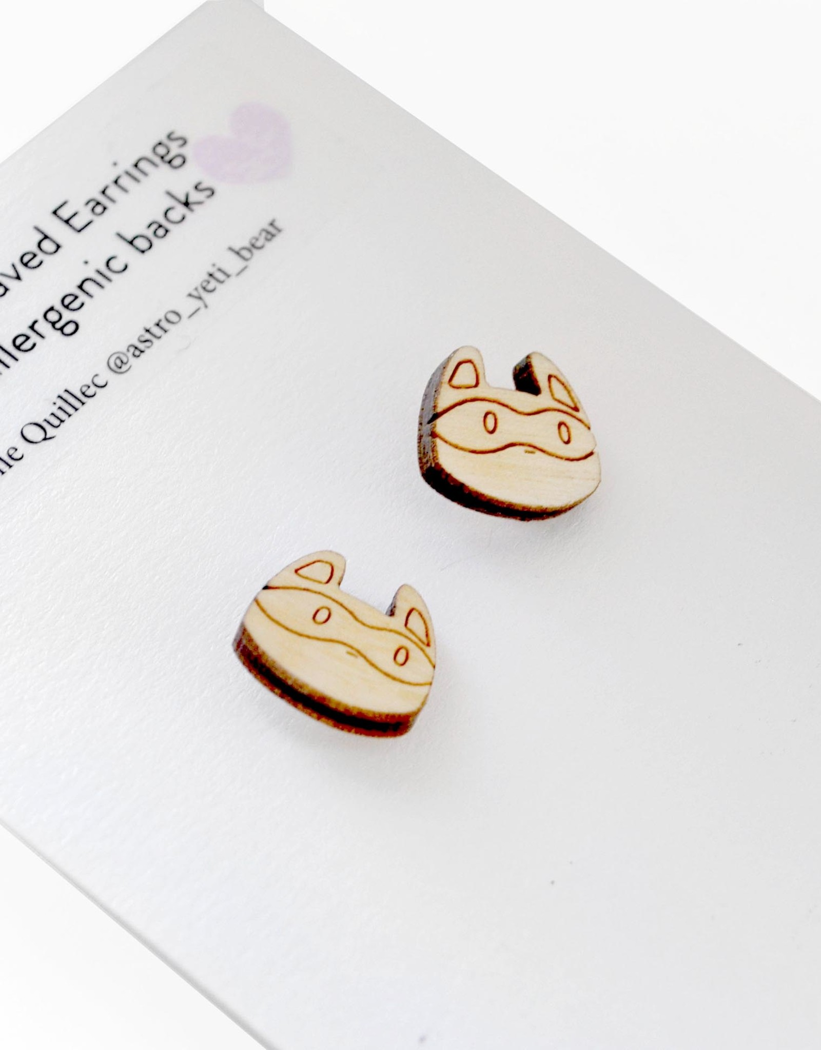 Sophie Quillec Raccoon Earrings by Sophie Quillec