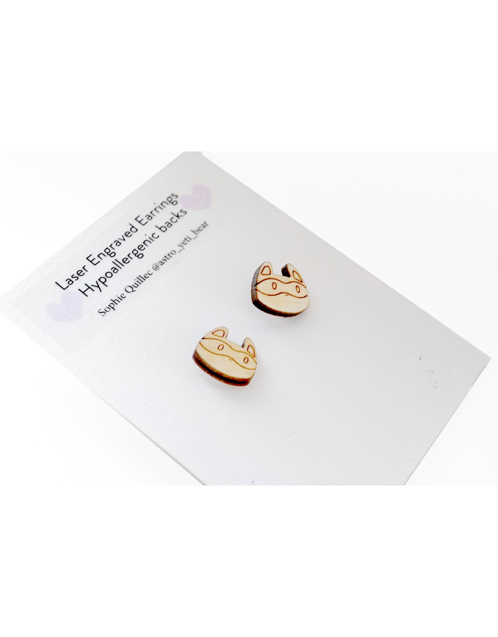 Sophie Quillec Raccoon Earrings by Sophie Quillec