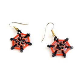 Knot Thinkers Bright Orange Spider Web Beaded Earring, Knot Thinkers
