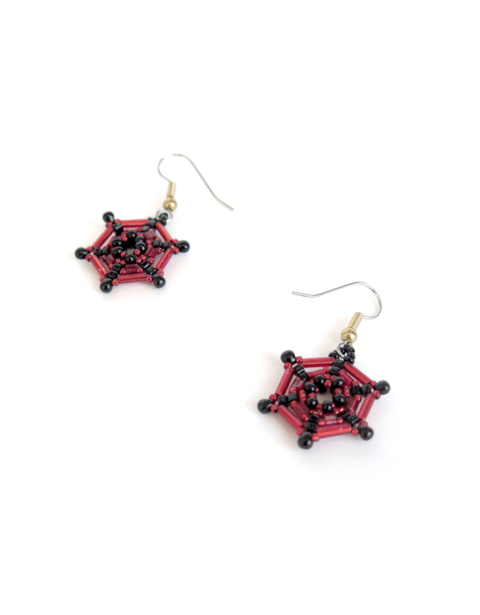 Knot Thinkers Garnet Spider Web Beaded Earring, Knot Thinkers