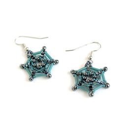 Knot Thinkers Aqua Spider Web Beaded Earring, Knot Thinkers