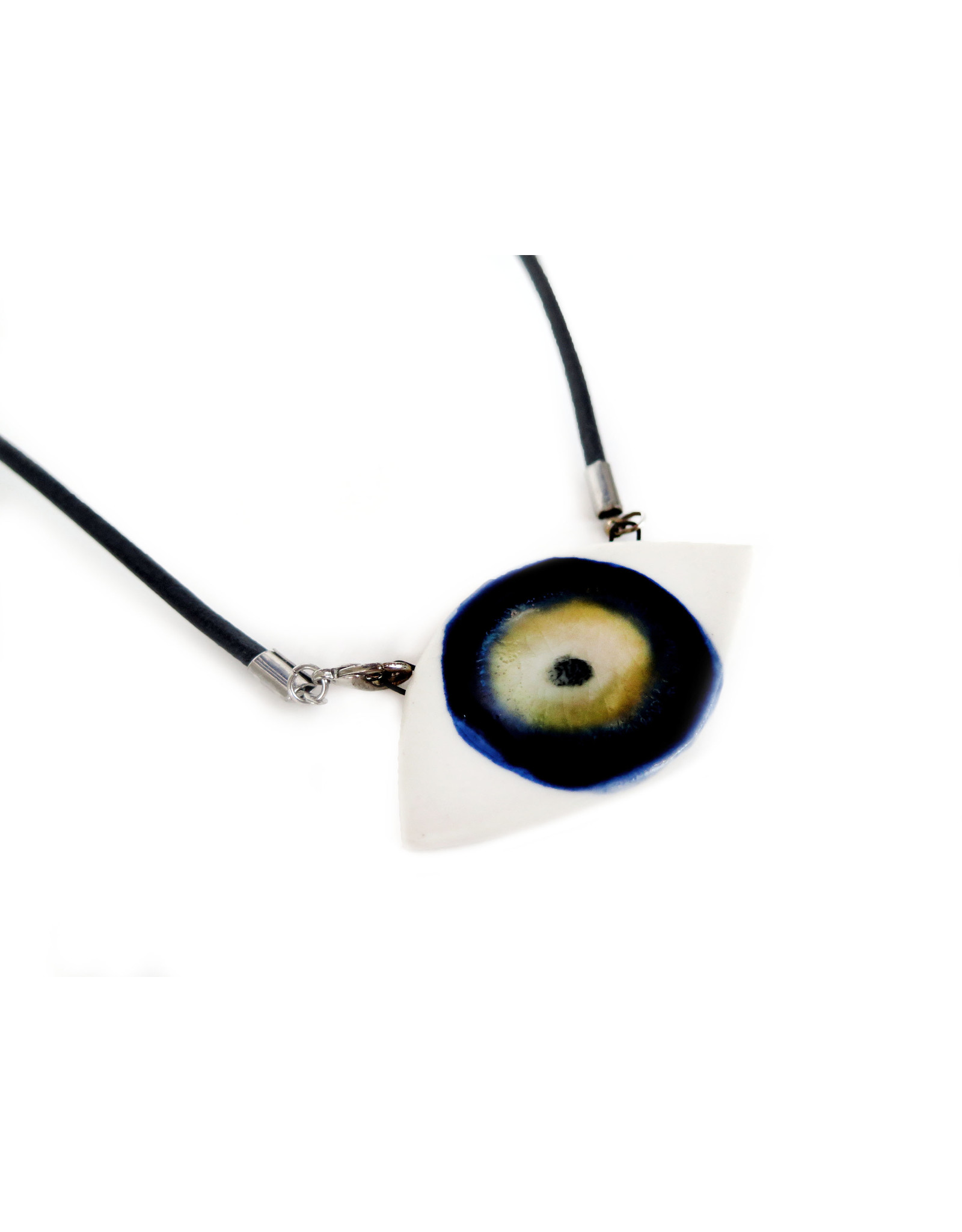 Blue/Hazel Porcelain Evil Eye Necklace, Larissa Rolley