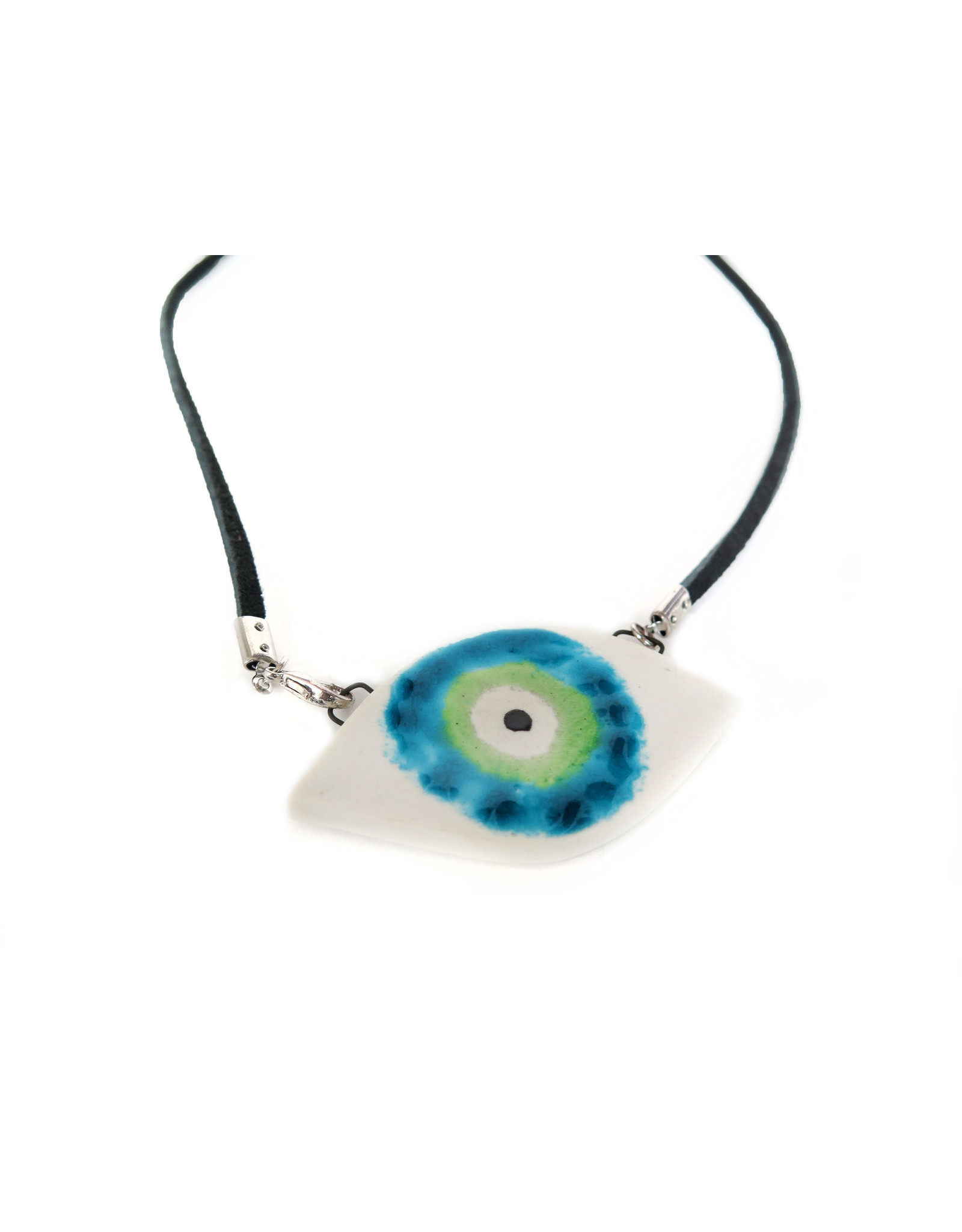 Green/Aqua Porcelain Evil Eye Necklace, Larissa Rolley