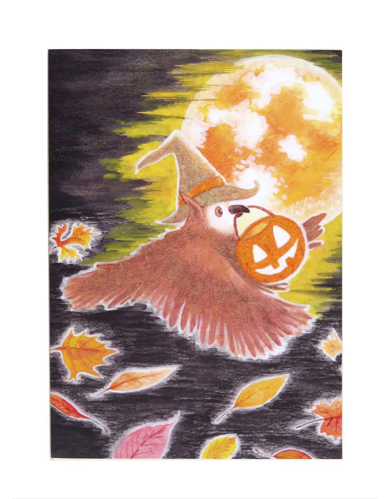 Melissa Rohr Gindling Halloween Greeting Card with flocking, Melissa Rohr Gindling
