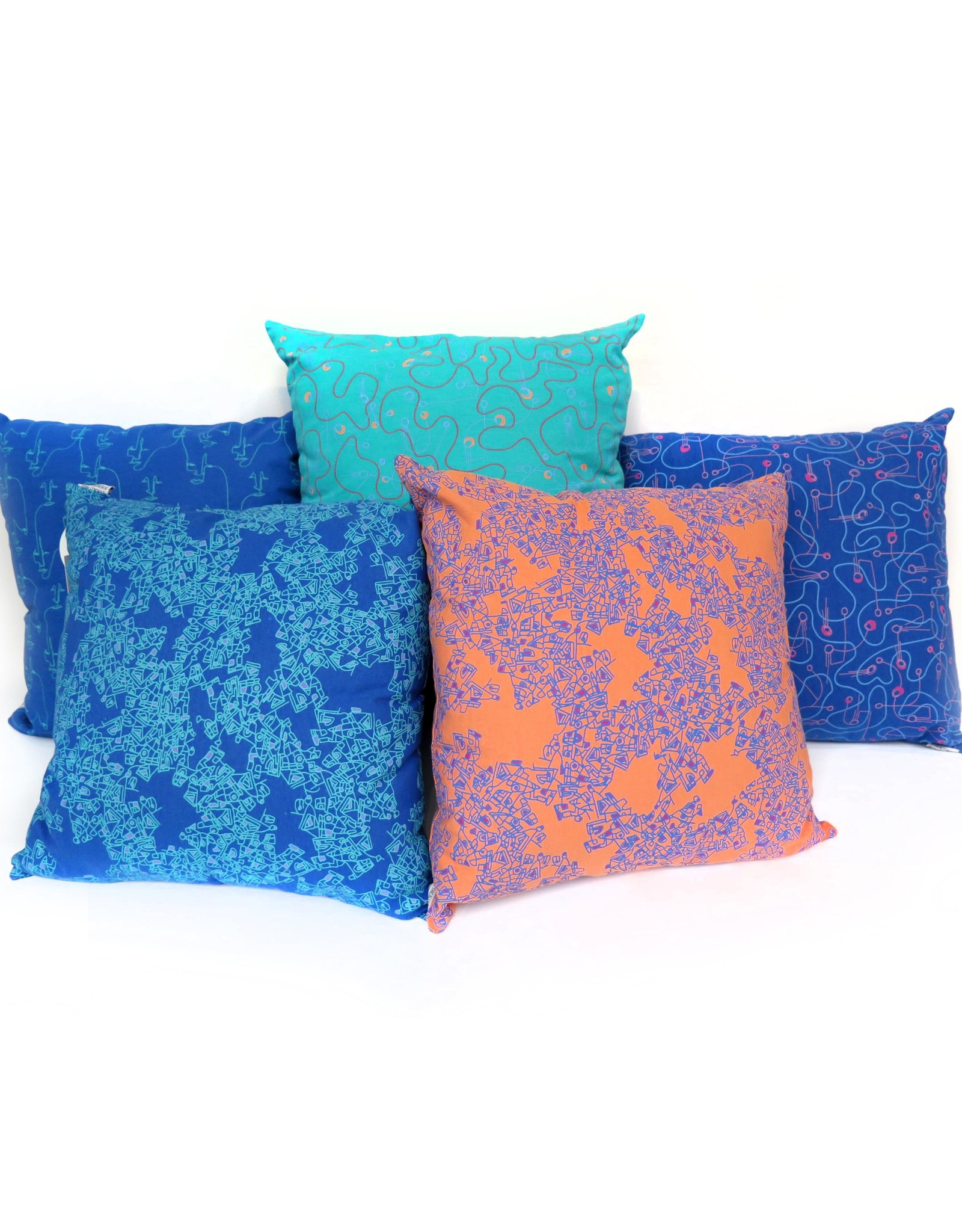 FAces (blue) pillow  PINTL + KYET