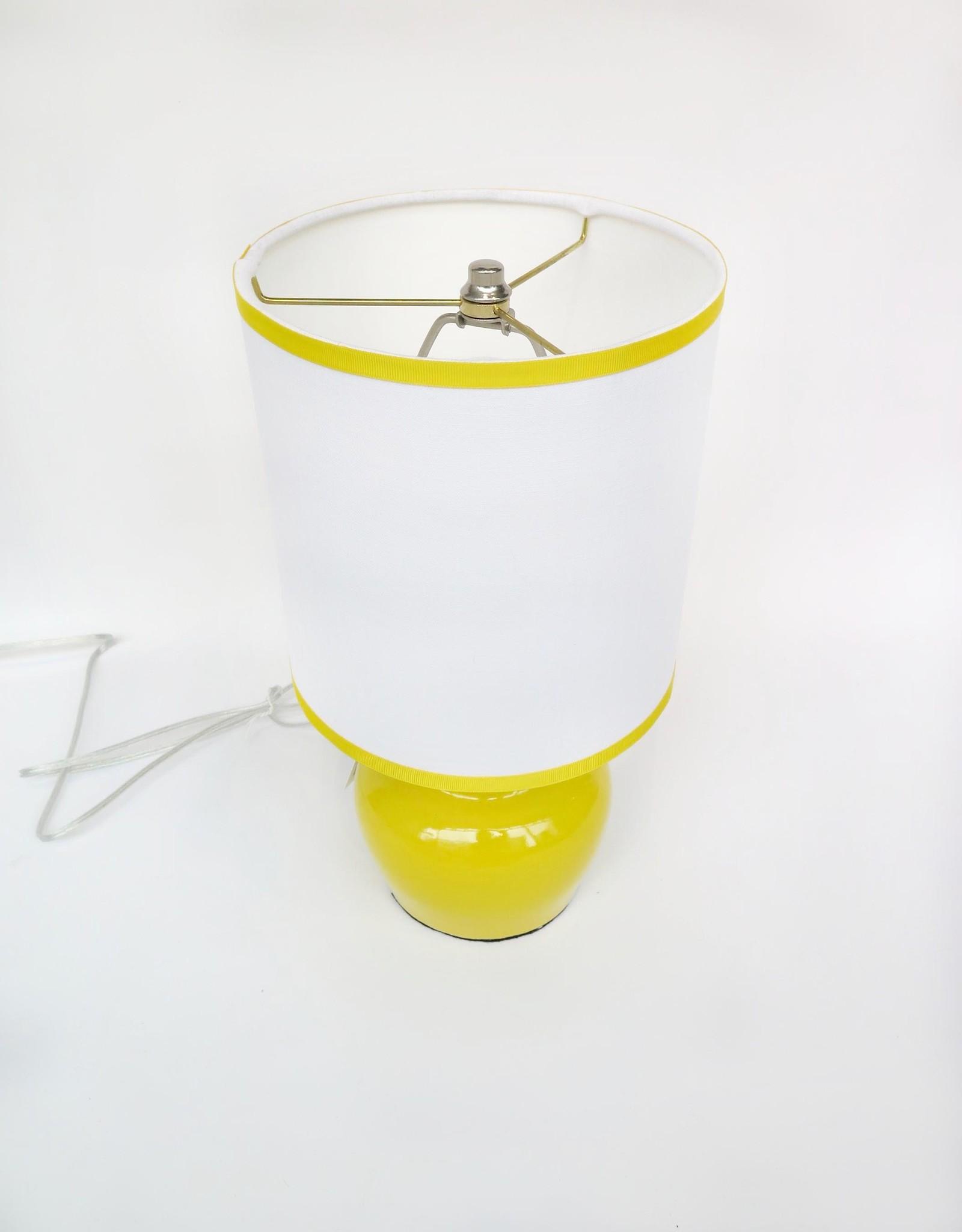 Small plump yellow  lamp by Ronda Ruby ceramics