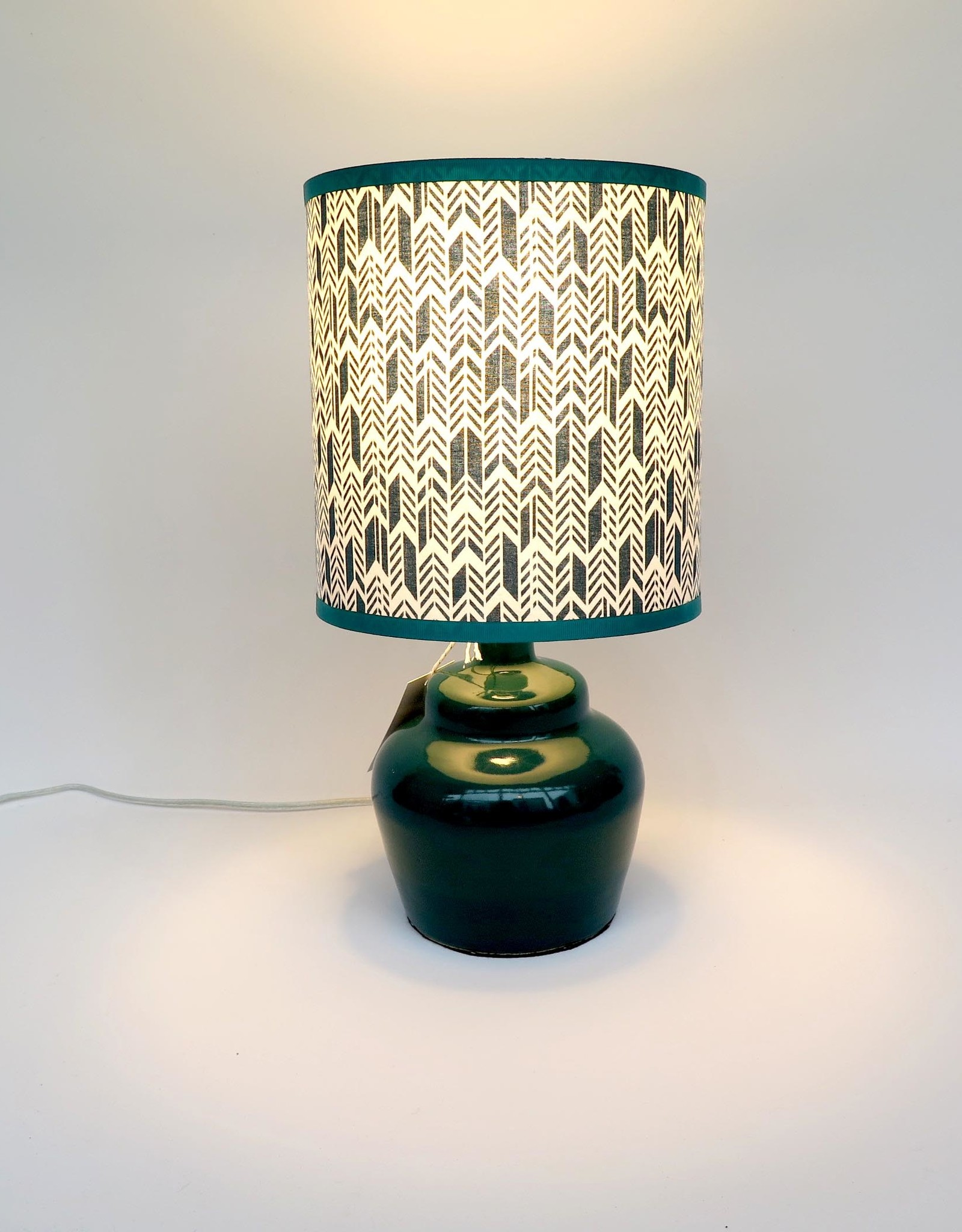 Small plump teal lamp by Ronda Ruby ceramics
