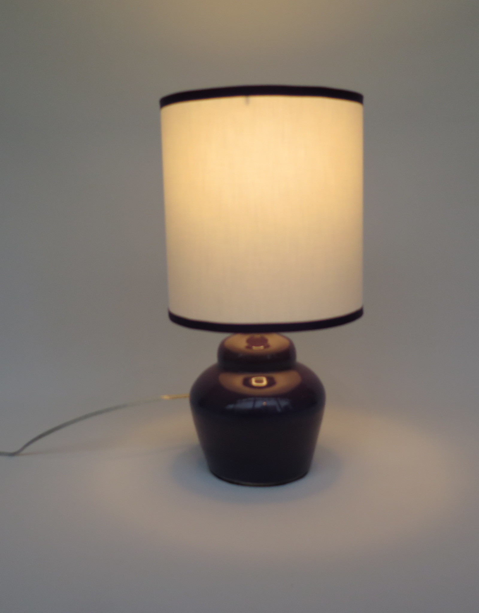 Small plump purple lamp by Ronda Ruby ceramics