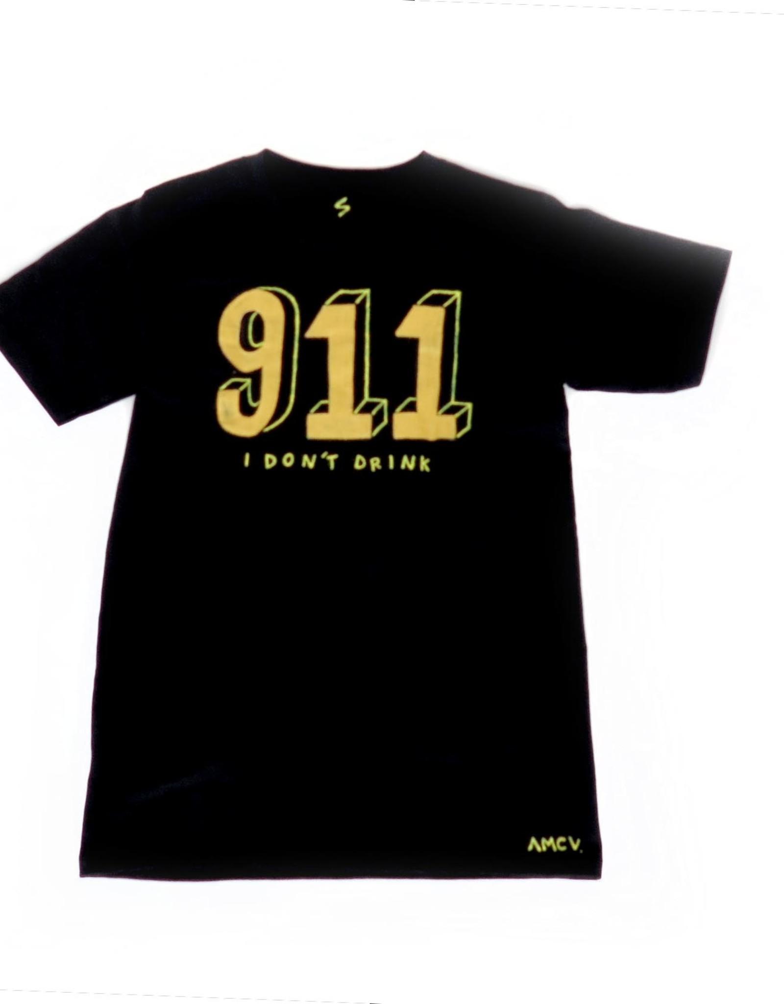 "AMCV ""911"" acrylic paint on black tshirt by AMCV"