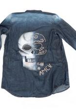 """AMCV """"Dia de Muertos"""" textile paint on denim shirt by AMCV"""