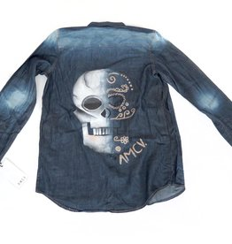 "AMCV ""Dia de Muertos"" textile paint on denim shirt by AMCV"