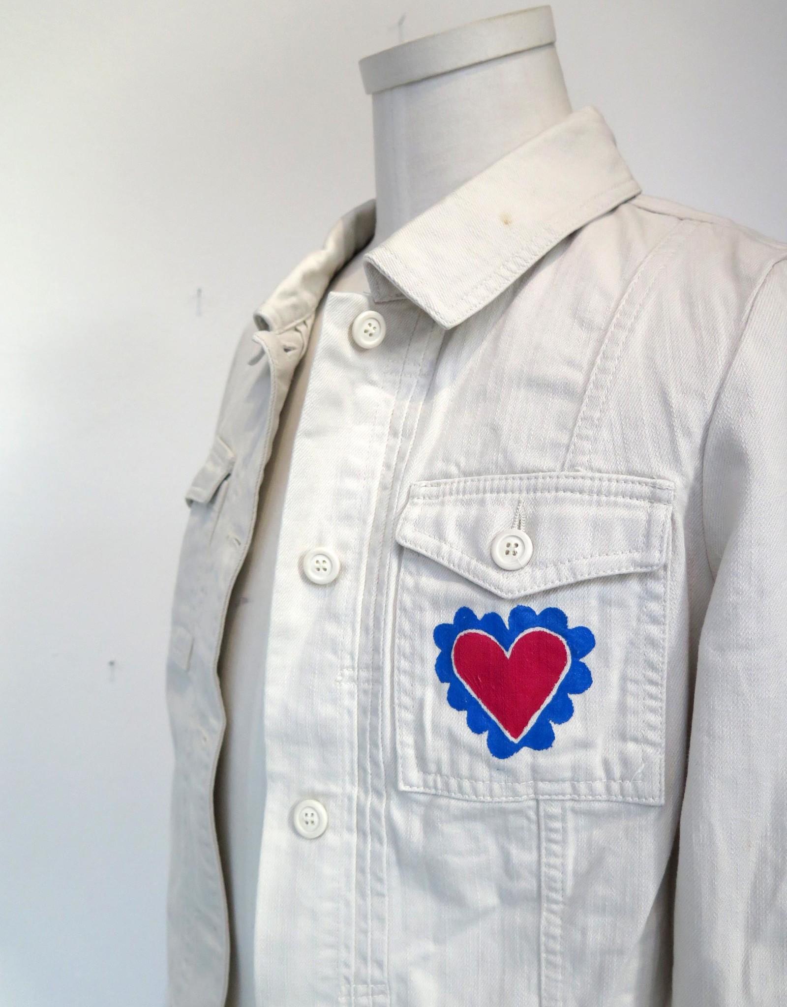 "AMCV ""VIVIR"" textile paint on denim jacket by AMCV"