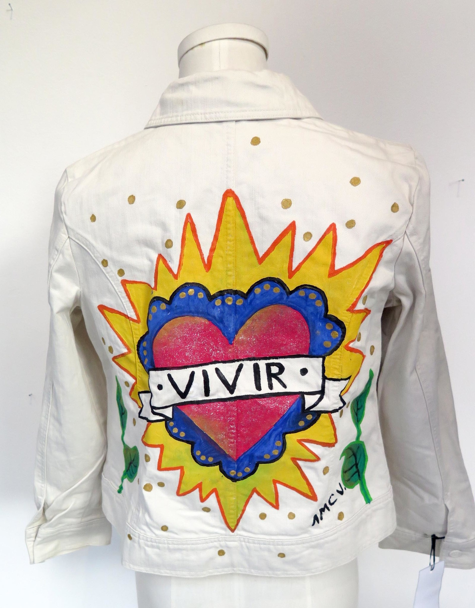 "AMCV ""Viva"" textile paint on denim jacket by AMCV"