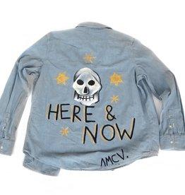 "AMCV ""Here & Now"" textile paint on denim shirt by AMCV"