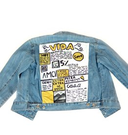 "AMCV ""VIDA"" textile paint on denim jacket by AMCV"
