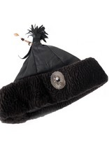 Black and Dark Brown  Hungarian Leather Hat, Beatrix Budy