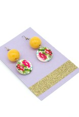 Floral button and bead earrings, Dana Diederich