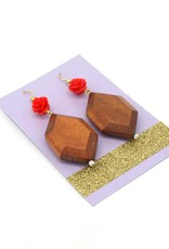 Wood and Rose Earrings by Dana Diederich