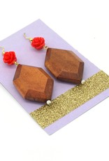 Wood and Rose Earrings, Dana Diederich
