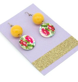 Floral button and bead earrings by Dana Diederich