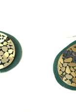 Green and Gold Upcycled Leather Earrings by Eva Airam Studio