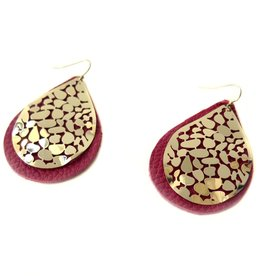 Red and Gold Upcycled Leather Earrings by Eva Airam Studio