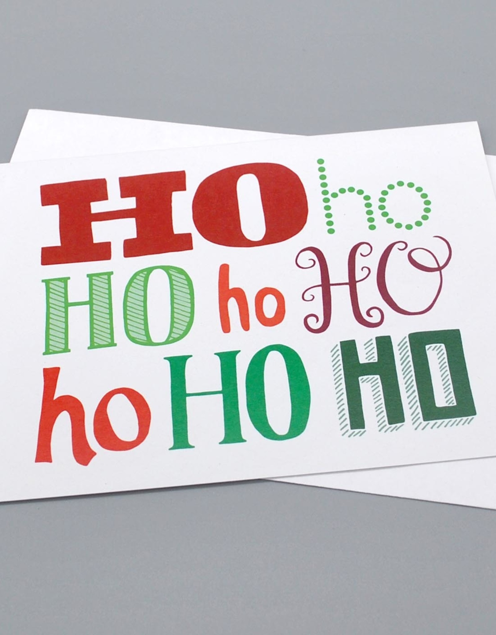 Paper Heart Dispatch Ho Ho Ho Mixed typography card by Jennifer Hines