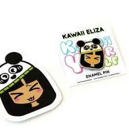 Kawaii Eliza Enamel Pin with Sticker by Jasmine Cabral