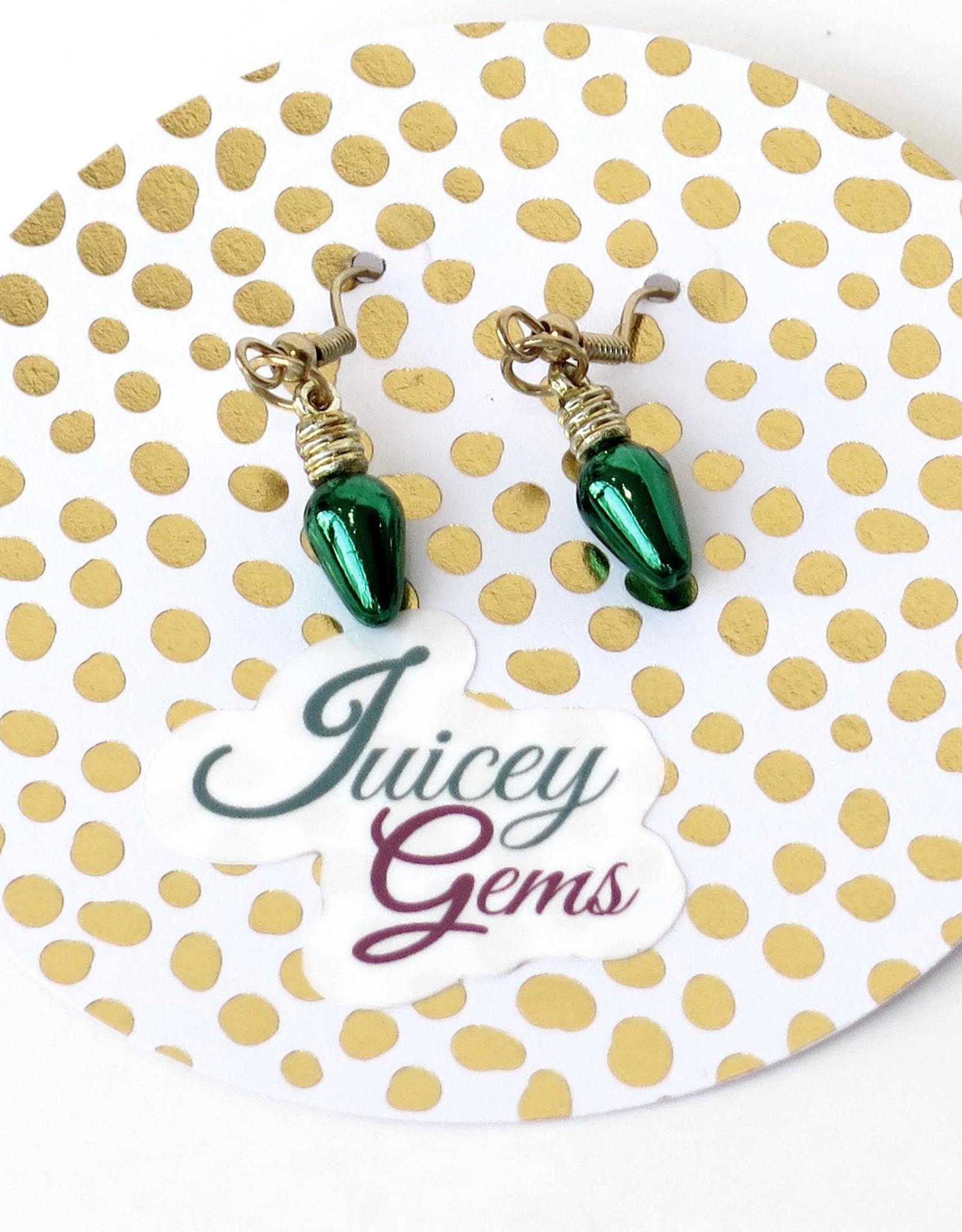 Juicey Gems Green Holiday Lights Earrings by Juicey Gems