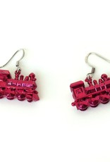 Juicey Gems Red Train Holiday Earrings by Juicey Gems
