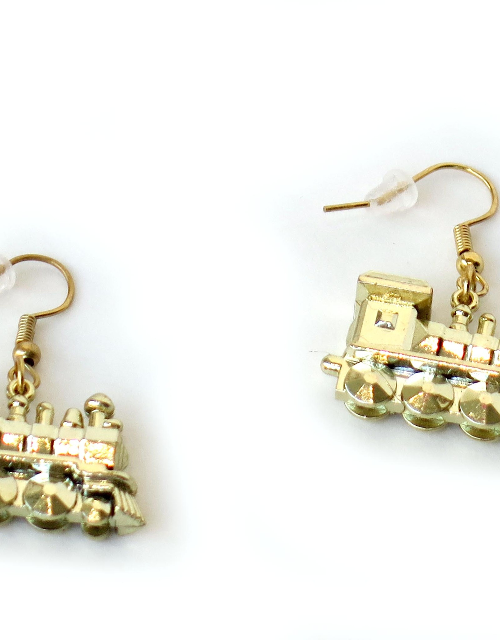 Juicey Gems Gold Train Holiday Earrings by Juicey Gems