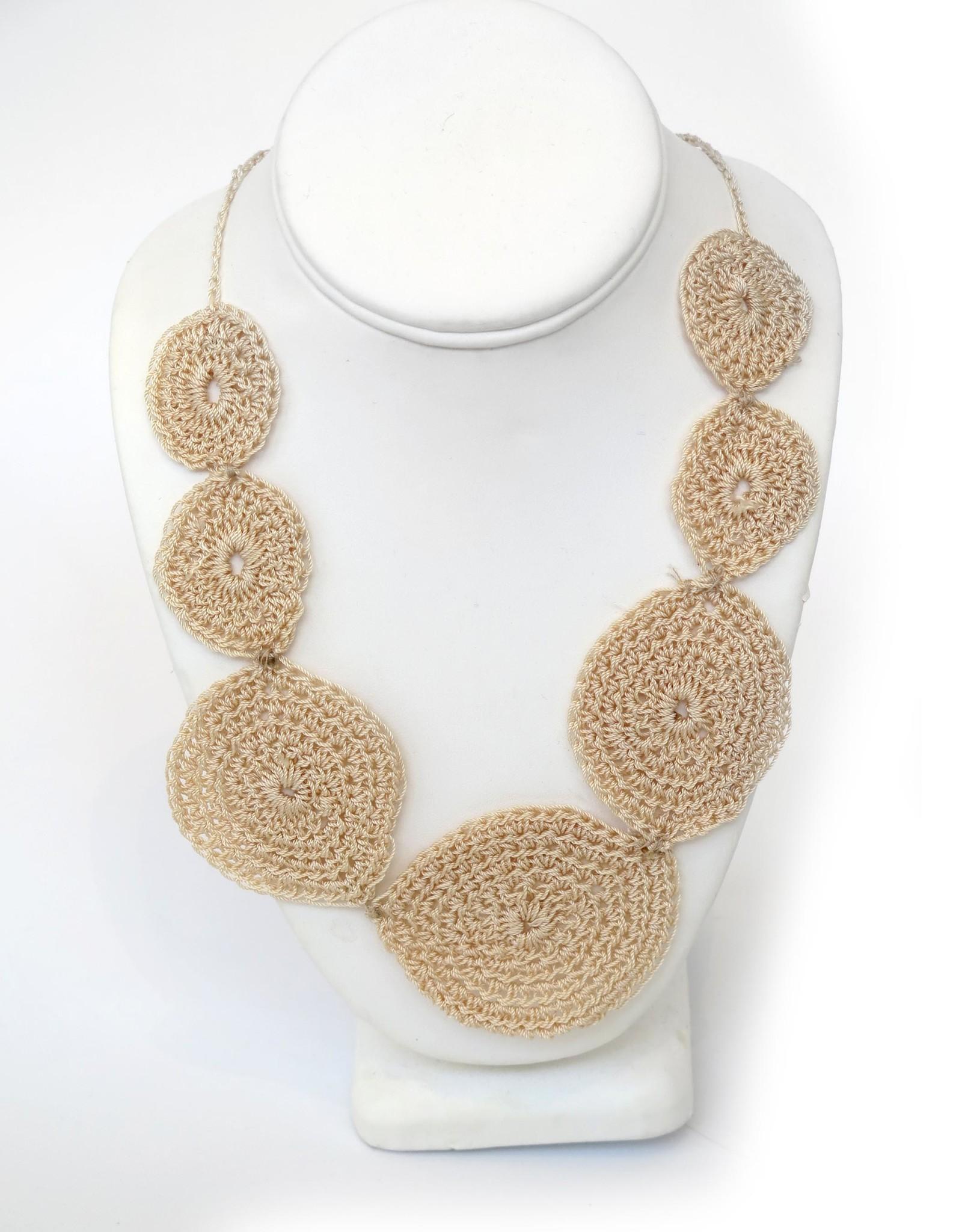 Juicey Gems Cream Juicey Knit Necklace by Juicy Gems