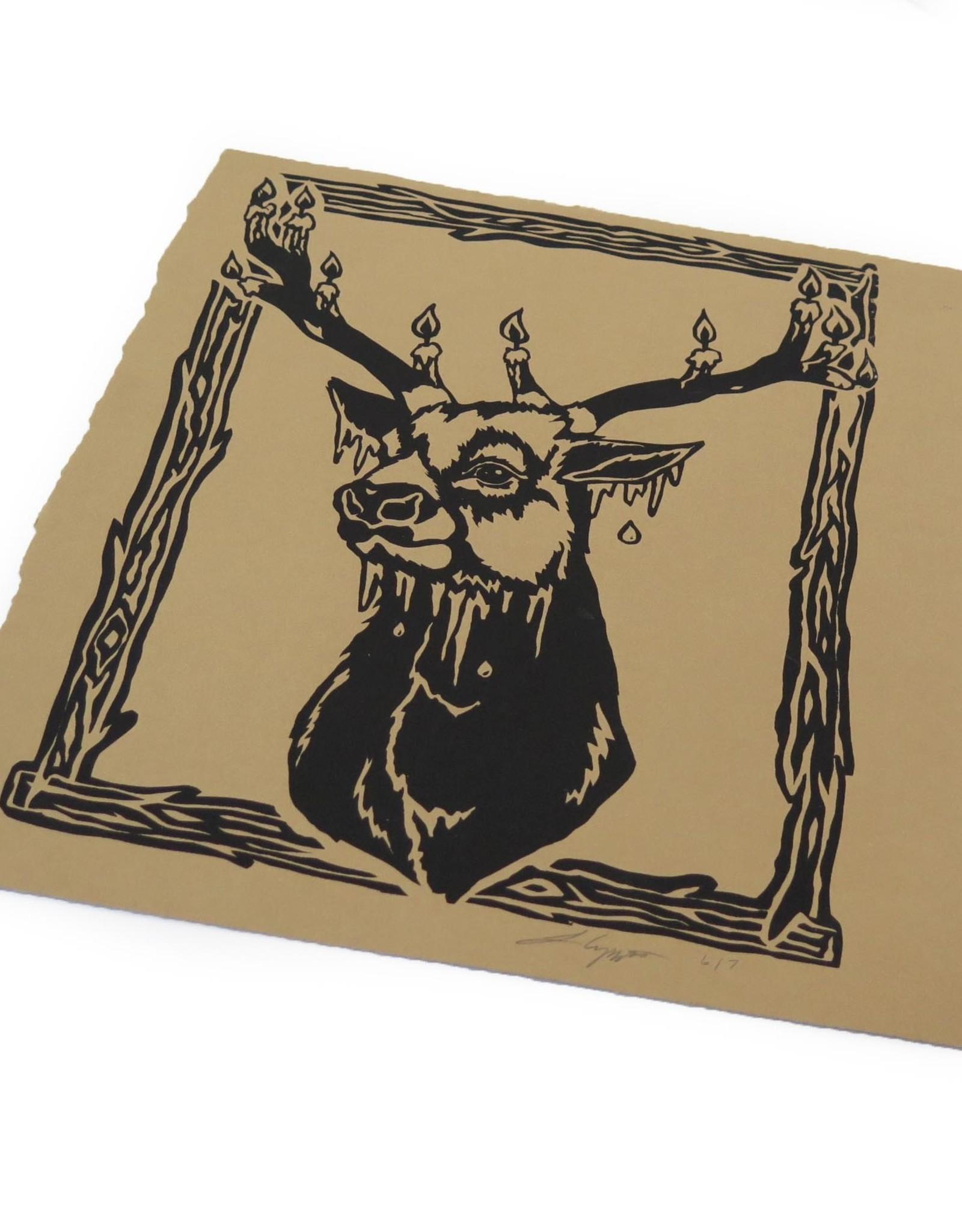 Untitled (Deer) screenprint, Lily Cozzens