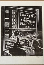"""It's Hard to Live in the City"" woodblock, Lily Cozzens"
